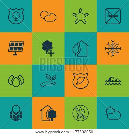 Set Of 16 Ecology Icons. Includes Snow, Aqua, Ocean Wave And Other Symbols. Beautiful Design Elements.