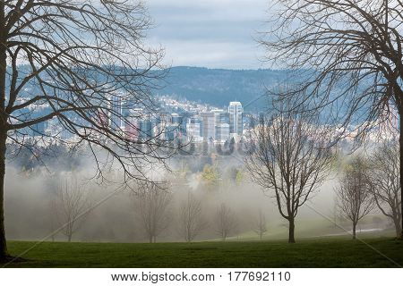 Foggy cold morning in the park scenic view of Portland Oregon downtown skyline during winter season