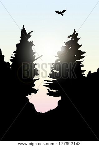 Wild pines and spruce on the hills. Abstract background with silhouettes of trees. Environmental colorful banner. Tourism and travel. Vector mountains and forest landscape early on the sunset.