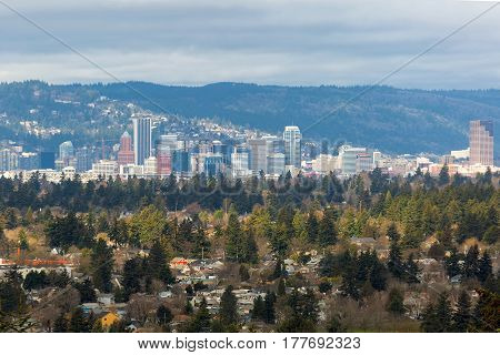 Portland Oregon Southeast neighborhhood with downtown city skyline view poster