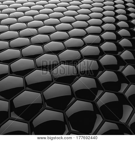 Abstract black glossy honeycomb gidital background. 3D rendering.