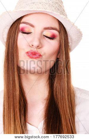 Happy Flirty Woman Wearing Sun Hat