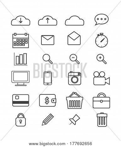 Simple web icons set isolated on white background