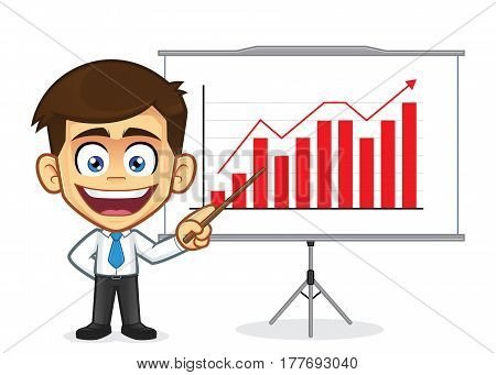 Clipart picture of a businessman cartoon character doing a presentation