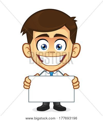 Clipart picture of a businessman cartoon character holding a blank sign