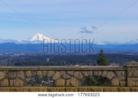 Mount Hood view on a sunny day from Rocky Butte in the city of Portland Oregon
