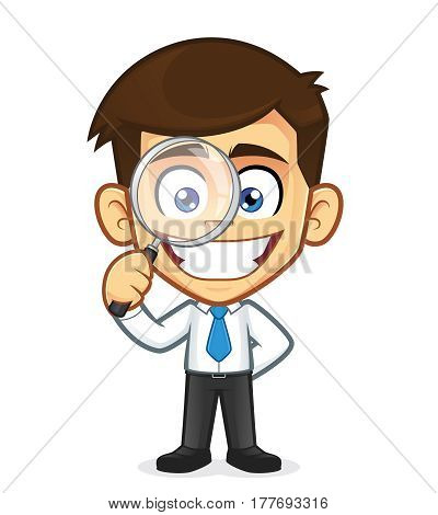 Clipart picture of a businessman cartoon character holding a magnifying glass