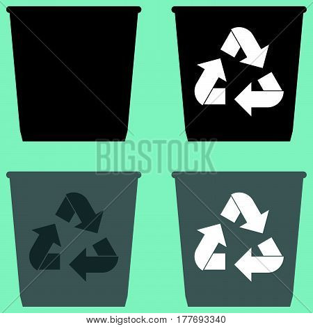 Dustbin With Sign Utilization Pail Bucket Serene Simple Shape Icon.