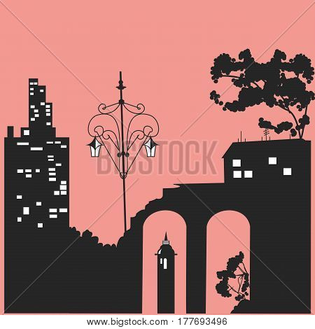 Black silhouettes of houses and trees. Vector illustration. Using the cards, printing on T-shirts, posters, fabrics, linen