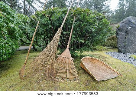 Japanese Garden Landscape Bamboo Reed Gardening Tools Closeup