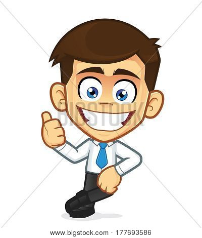 Clipart picture of a businessman cartoon character leaning on an empty block