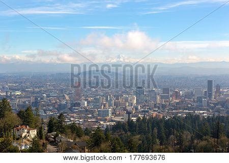 Portland Oregon downtown cityscape with Mt Hood on a beautiful sunny day scenic view