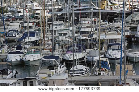 Mediterranean sea. View of luxury yachts in the Port Vauban French Riviera. Antibes Cote d'Azur France.