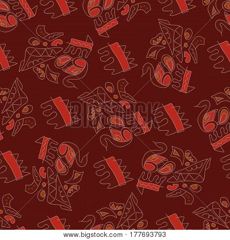 Abstract geometric background with primitive ethnic ornament.