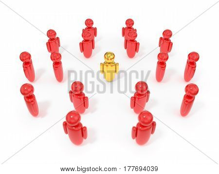 3d illustration of symbolic human figures surrounded one golden figure. suitable for business, customer, staff or human resource themes.