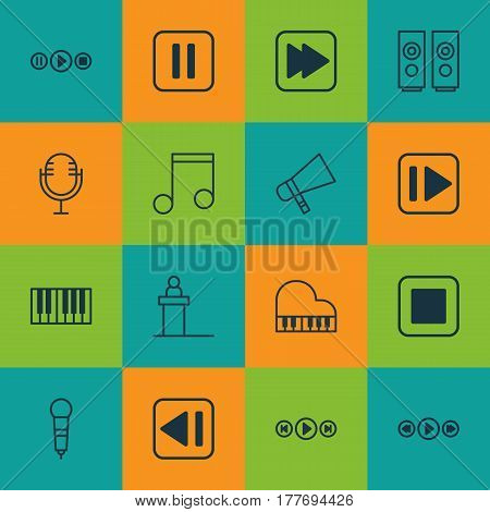 Set Of 16 Multimedia Icons. Includes Sound Box, Following Song, Octave And Other Symbols. Beautiful Design Elements.