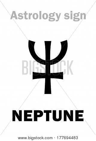Astrology Alphabet: NEPTUNE, higher global planet. Hieroglyphics character sign (single symbol).