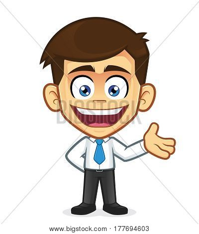 Clipart picture of a businessman cartoon character in welcoming gesture