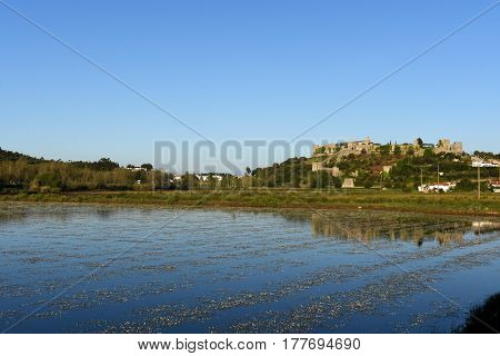 Rice fiels and Village of Montemor o velho Beiras region Portugal