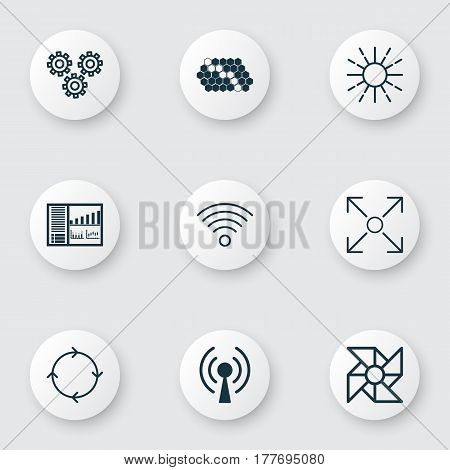 Set Of 9 Machine Learning Icons. Includes Hive Pattern, Recurring Program, Wireless Communications And Other Symbols. Beautiful Design Elements.