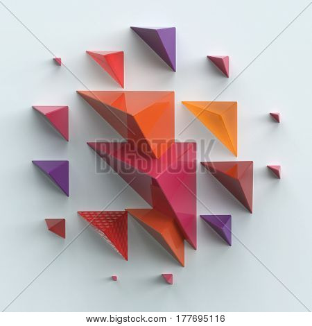 abstract 3d composition of pyramids on plane