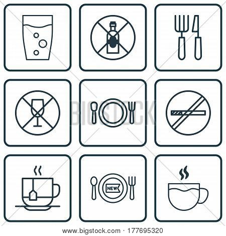 Set Of 9 Restaurant Icons. Includes Fork Knife, No Drinking, Alcohol Forbid And Other Symbols. Beautiful Design Elements.