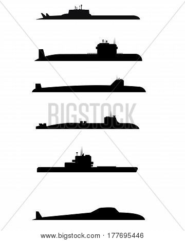 Vector illustration of a six submarine silhouettes