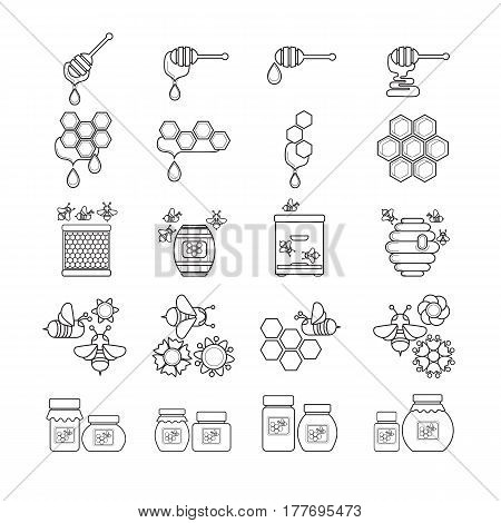 Vector illustration of outline style beekeeping product. Included bee, honey, dipper, honeycomb, beehive and flower. Black and white icon.