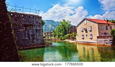 Kotor Channel Fortress Old Town Water River Strengthening Protection Historic Center Montenegro Boka