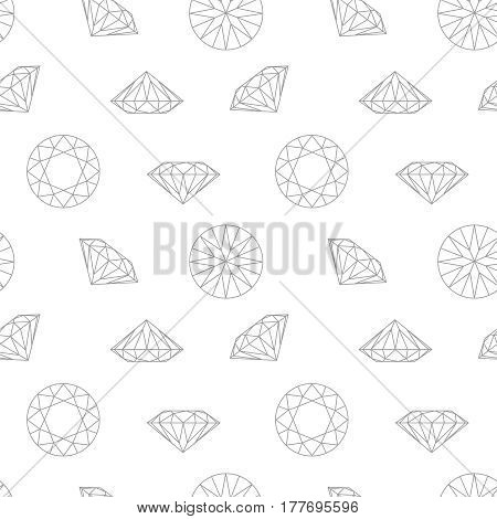 Diamond concept seamless pattern. Fashion style wrapping paper. Black and white light background