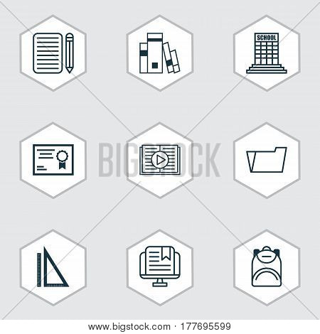 Set Of 9 School Icons. Includes Document Case, Taped Book, Library And Other Symbols. Beautiful Design Elements.