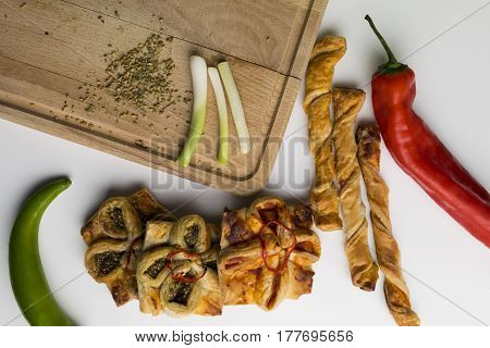 Traditional Syrian pastries food or pies with thyme or vegetables for lunch or breakfast. homemade oriental baked dishes.