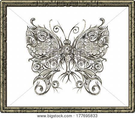 Drawing by hand in pencil butterfly. Black and white image of a butterfly on a white background.Fig.