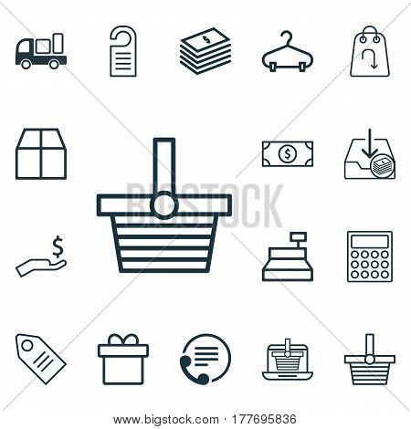 Set Of 16 Commerce Icons. Includes Till, Buck, Peg And Other Symbols. Beautiful Design Elements.