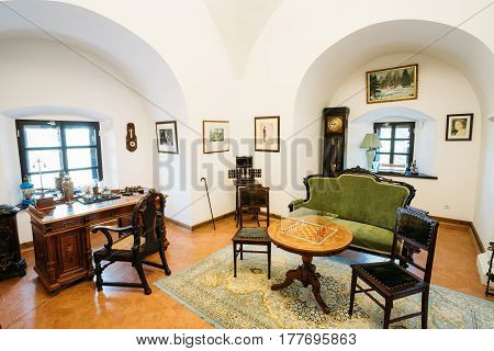 Mir, Belarus - September 1, 2016: Study Room Of the Owner Of the Castle Of the Prince Mikhail Svyatopolk-Mirsky In Museum. Famous Landmark, Ancient Cultural Monument, UNESCO Heritage