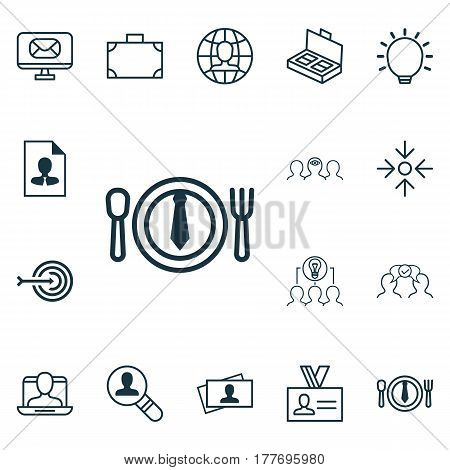 Set Of 16 Business Management Icons. Includes Coaching, Great Glimpse, Document Suitcase And Other Symbols. Beautiful Design Elements.