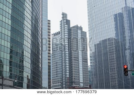 Majestic high-rise blocks situating in Chicago city. They reaching to sky in United States