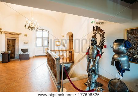 Mir, Belarus - September 1, 2016: Armor of the Polish winged hussar In Armored Room In Castle Complex Museum. Famous Landmark, Architectural Ensemble Of Feudalism, Ancient Cultural Monument, UNESCO Heritage