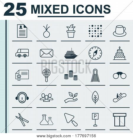 Set Of 25 Universal Editable Icons. Can Be Used For Web, Mobile And App Design. Includes Elements Such As Message, Tree Leaf, Box And More.
