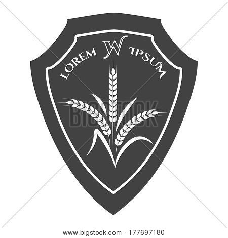 Agriculture crest with wheat branches isolated on white background. Vector illustration
