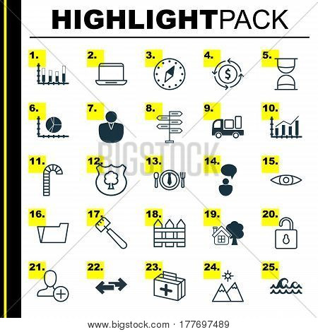 Set Of 25 Universal Editable Icons. Can Be Used For Web, Mobile And App Design. Includes Elements Such As Economy Growth, Navigation Arrows, Document Case And More.
