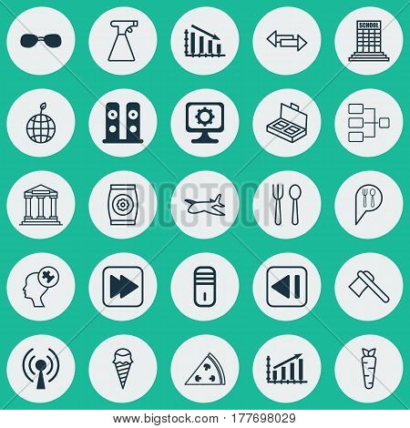 Set Of 25 Universal Editable Icons. Can Be Used For Web, Mobile And App Design. Includes Elements Such As Profit Graph, Eating House, Dessert And More.