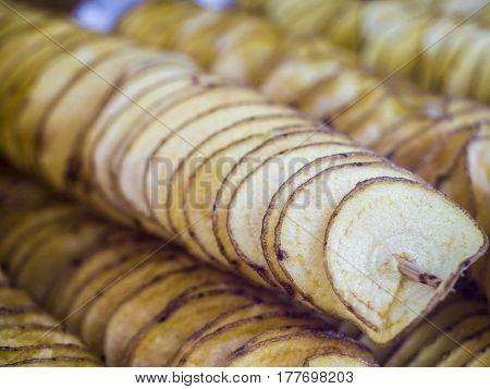 Crispy Potato Chips Handmade In A Wood Support. Beautiful Potatoes