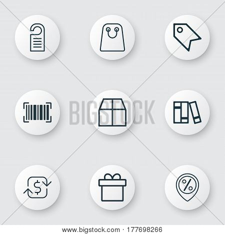 Set Of 9 Ecommerce Icons. Includes Price Stamp, Cardboard, Discount Location And Other Symbols. Beautiful Design Elements.