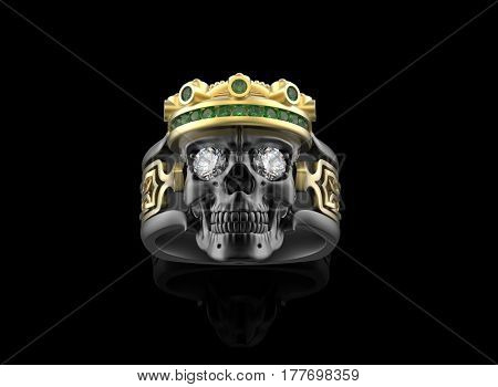 Golden skull with Diamonds. Jewelry background. Fashion luxury accessories. 3D illustration