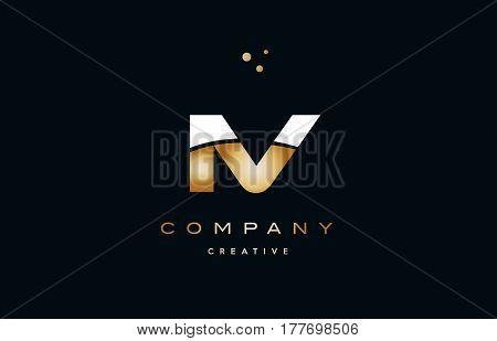 Iv I V  White Yellow Gold Golden Luxury Alphabet Letter Logo Icon Template