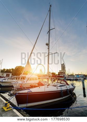 Yachts in Gdynia during sunset. Poland Europe.