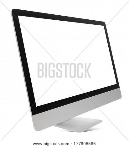 Hovering aluminium computer all in one isolated on a white background.