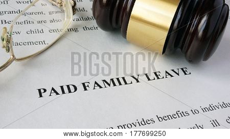 Page with title Paid family leave and gavel.