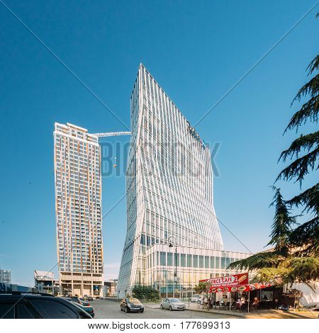 Batumi, Adjara, Georgia - May 25, 2016: View on Ninoshvili street near buildings Black Sea Technological University of Batumi, residential house Porta Batumi Tower and Radisson Blu hotel
